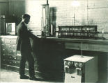 Student in chemistry laboratory, The University of Iowa, 1920s