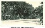 Commencement procession walking south on Clinton Street, The University of Iowa, June 1926