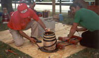John Giacalone demonstrating coopering at the Museum of Amana History, Amana, Iowa, August 13 and 14, 1989