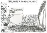 Neck and neck and neck and neck