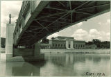 Art Building seen from under Iowa Memorial Union pedestrian bridge, the University of Iowa, August 1939