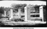 Iowa Memorial Union footbridge under construction, Iowa City, Iowa, ca. 1933
