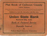 Plat book of Calhoun County, Iowa ca. 1934: containing a map of Calhoun County and maps of the individual townships, showing the names of the land owners; the highways and improved roads; the ditches, schools, churches, cemeteries, creeks, rivers and railroads.