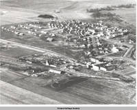"Aerial view Amana including early ""boy's town"", Amana, Iowa, 196-"
