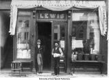 Men outside George W. Lewis grocery store, Iowa City, Iowa, between 1862 and 1873