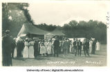Students gathered near tents for Senior Frolic, The University of Iowa, 1914