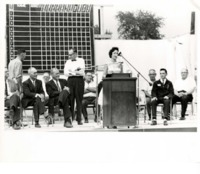 Furrow Queen Barbara Rey gives a Speech on State Field Day 1962