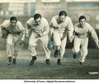 Iowa football players Frank Balazs,  Robert Kelley, Edwin McLain and Russell Busk, The University of Iowa, 1938?