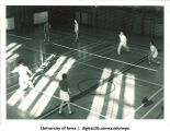 Badminton in Esther French Women's Gymnasium, The University of Iowa, 1937