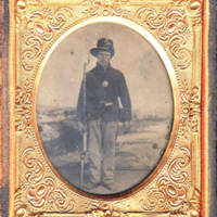 [Tintype of Pospisil, John (Jan), 1839?- , in Civil War uniform.]