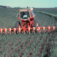 Farmer using a cultivator in Cherokee County, Iowa.