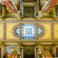 12. Stained Glass Ceiling in the Iowa Capitol Law Library in Des Moines, Iowa