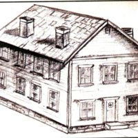 Sketch of first Burlington, Iowa building to house the Legislature