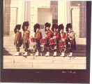 Scottish Highlanders drum major and drummers, The University of Iowa, 1979
