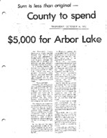 County To Spend $5000 For Arbor Lake