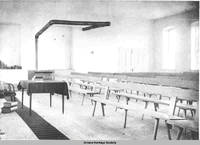 Interior of church, Homestead, Iowa, ca. 1900