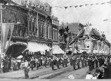 C.L. Barnhouse and the Knights of Pythias Brigade Band, State Encampment in Marshalltown, 1896; Oskaloosa; Mahaska County; Iowa