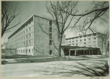 Clinton Street view of Burge Residence Hall entrance, the University of Iowa, 1960s?