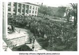 Crowd on Pentacrest at Martin Luther King, Jr. memorial service, the University of Iowa, April, 1968
