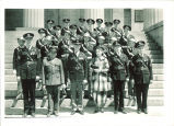 Cadets and military personnel on steps of Old Capitol, The University of Iowa, 1930s?