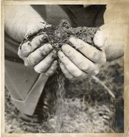 Roger Simmons with Dirt for 1974 Annual Report
