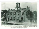 People posed on  steps and windows of Mechanics' Academy, the University of Iowa, 1870