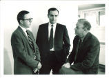 Iowa Writers' Workshop faculty members Eugene Garber, George Starbuck, and Paul Engle, The University of Iowa, 1960s
