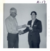 Commissioner Wilms and speech contest winner, 1971