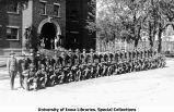 Cadets in formation south of Old Armory, The University of Iowa, 1918