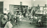 Elementary school students working on projects, The University of Iowa elementary school, April 22, 1927