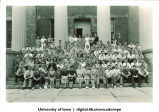 Group on the steps of Old Capitol, The University of Iowa, 1950s