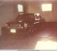 Car parked in barn