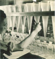 Engineering student filling bottles with chemical solution in engineering laboratory, The University of Iowa, 1939
