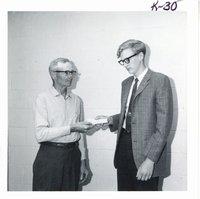 Speech contest winner, Bruce Peterson, with Glen Weiland, 1968