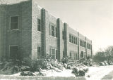 West side of South Quadrangle in winter, The University of Iowa, 1952