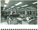 Students in a reading room in Main Library, the University of Iowa, 1972