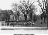 Battalion and military band in formation on Pentacrest, The University of Iowa, 1918
