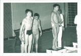 High school swimmers at starting blocks, The University of Iowa, March 1967