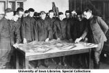 Cadets in class using map, The University of Iowa, 1919