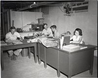 Three Working Men and One Woman Sit at Desks in an Office