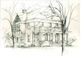 Drawing of Shambaugh House, The University of Iowa, 1950s
