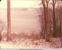 View of Mississippi River from North Cabin windows in Winter