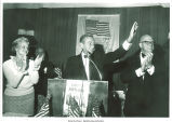 Former New York Gov. Malcolm Wilson at podium with Mary Louise Smith, Joseph Margiotta, and Richard Rosenbaum looking on, Hauppauge, N.Y., June 19, 1975