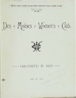 Des Moines Women's Club Memorabilia 1885-93 volume 1
