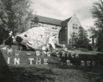 "Alpha Delta Pi Homecoming lawn display,  """"M U - big catch in the I S Sea,"""" 1953"