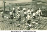 Students on dock, The University of Iowa, 1930s