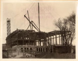 Skeletal frame of the original library building, 1923
