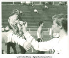 Cheerleader placing pin on hawk during Homecoming festivities, The University of Iowa, November 3, 1956