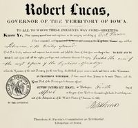 Robert Lucas' proclamation of Theodore Parvin as Territorial Librarian.