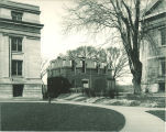 Old Armory with shed, the University of Iowa, circa 1920